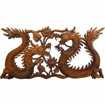 Painel Dragão Escultura Madeira Para Parede 50x24cm (11734)