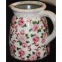 Peça Em Cerâmica Craquelada, Com Charmosa Decoração Floral