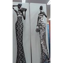 Par De Africanas Resina Mulher Estátua Escultura + Frete