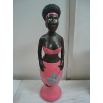 #1638# Estátua Morena / Africana Chique Roupa Rosa