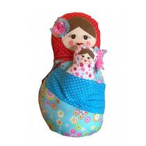Boneca Russa Em Tecido - Decoração