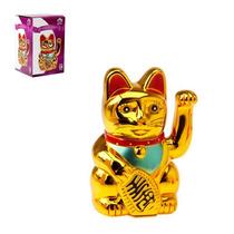 Gato Da Sorte Maneki Neko Dourado Grande Japão Japones China