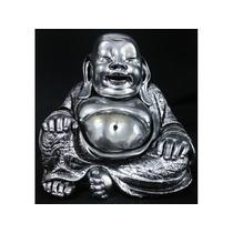 Buda Da Riqueza Prata Envelhecido Dinheiro Decoração Estat