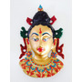 Deus Hindú Krishna Máscara Decorativa Em Metal Trabalhado