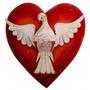 Divino Espírito Santo Coração Madeira Luxo G Frete Grátis