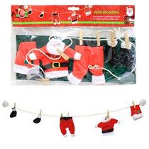 Enfeite,decoração De Natal Natalina Bonecos Papai Noel Varal
