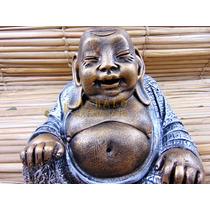 Buda Da Riqueza Felicidade Resina Dinheiro Decoração Estat