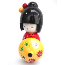 Boneca Kokeshi Oriental Japonesa Decoração Enfeite Gueixa