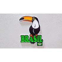 Imã Geladeira Emborrachado Pássaro Tucano Brasil/ Souvenir