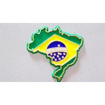Imã Geladeira Emborrachado Mapa Bandeira Brasil/ Lembranças