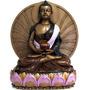 Estátua Buda Meditando Na Flor De Lótus 25cm