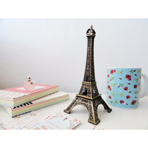 Mini Torre Eiffel Paris 18cm Decor Metal Bronze Enfeite