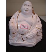 #1107# Buda Branco De Porcelana Filetado Ouro 24 K