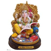 Escultura Indiana P/ Decoração - Deus Ganesha Trono De Ou...