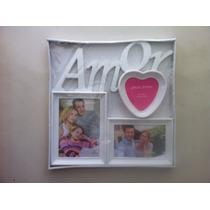 Porta Retrato Love (amor) Ou Painel Para 3 Fotos - Branco