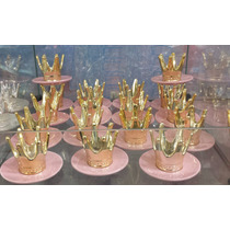 2 Coroa Dourada Com Pires Enfeites Festas Aniversarios Rosa