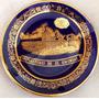 Prato Porcelana Cobalto Com Ouro 12cm