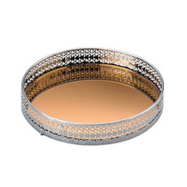 Bandeja Espelhada Metal Bronze Redonda 21 Cm G9836