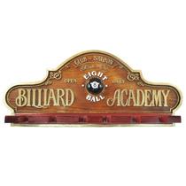 Placa Decorativa Suporte Taças - Billiard Academy