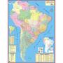 Mapa Geo Político Da América Do Sul Gigante - 0,90 X 1,20m