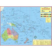 Mapa Geo Político Do Continente Oceania - Tam. 1,20 X 0,90 M