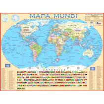 Mapa Mundi Planisfério Político Gigante - 0,90 X 1,20m