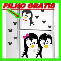 Adesivo Decorativo De Geladeira Casal Pinguim Cozinha