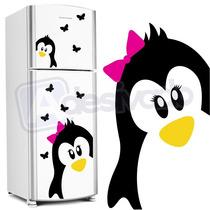 Adesivo Decorativo De Geladeira Pinguim Gigante + Borboletas