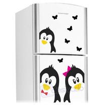Adesivo Decorativo De Geladeira Casal Pinguim Cozinha 02