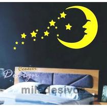 Adesivo Decorativo De Parede Lua Com Várias Estrelas