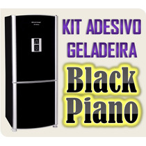 Kit Adesivo Envelopamento Black Piano De Geladeira - 6m X 1m