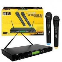 Microfones Sem Fio Duplo Skp Uhf 471 Digital - Dual Channel