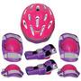Kit Proteção 7 Itens Skate Rollers Bicicleta Patins(rosa) G