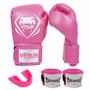 Kit Feminino Muay Thai Boxe Luva + Atadura + Bucal Rosa Pink