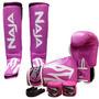 Kit Muay Thai Boxe Naja Frete Grátis - Rosa - 12 Oz.