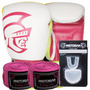 Kit Boxe Training Pretorian -14 Oz Branco E Pink