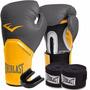Kit Boxe Elite Everlast 12oz Cinza-laranja