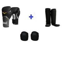 Kit De Boxe / Muay Thai Luva + Bandagem + Caneleira