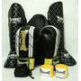 Kit Muay Thai Luva + Caneleira P + Bandagem + Bucal Thunder