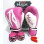 Kit Muay Thai Feminino Rosa - Luva - Bandagem - Bucal