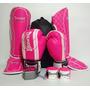 Kit Feminino Muay Thai Luva + Caneleira G + Bandagem + Bucal