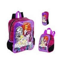 Kit Mochila Monster High Costas + Lancheira+ Estojo