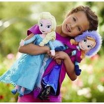 Boneca Frozen Em Pelúcia Anna E Elsa 50cm 2 Bonecas