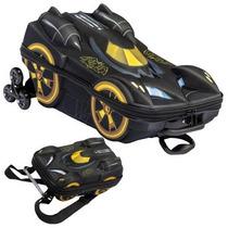 Mochila C/ Rodinhas 3d + Lancheira Batman Beware Max Toy
