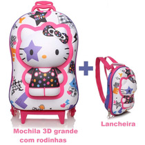 Mochila Hello Kitty + Lancheira Kit 3d