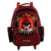 Mochila Infantil C/ Rodinhas Angry Birds Red Alto Relevo