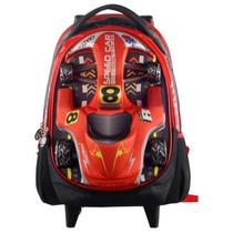 Mochila Infantil Rodinhas Speedcar Alto Relevo 14 Vermelha