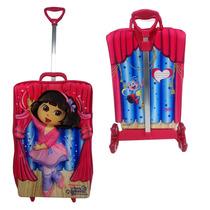 Mochila Infantil C/ Rodinhas 3d + Lancheira Dora Bailarina