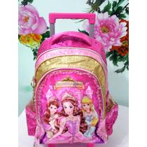 Mochila Escolar Infantil Princesas Com Rodinhas