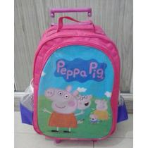 Peppa Pig- Mochila Escolar De Rodinhas - Pronta Entrega.